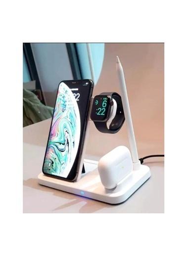 marstec MARSTEC  4 in 1 Kablosuz Hızlı Şarj İstasyonu Standı Iphone Samsung Beyaz